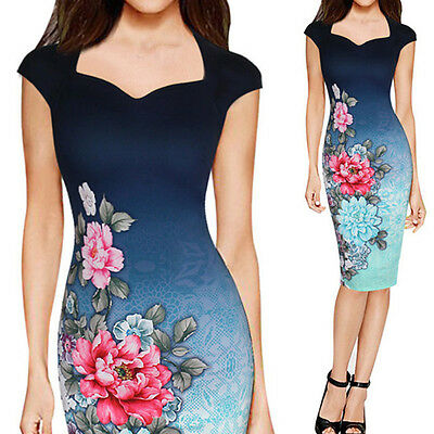 Womens Elegant Floral Print Casual Cocktail Party Evening Pencil Stretch Dress
