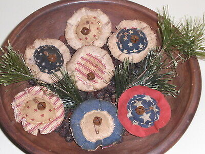 Set of 6 Americana Primitive Bowl Fillers Ornies Grunged Flowers Stars