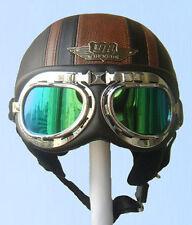 Schwarz/Braun Leder Helme Motorradhelm Oldtimerhelm und Brille/Visier S M L XL