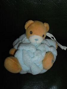 Doudou-Kaloo-Mini-Ours-Boule-Plume-Attache-Tetine-Beige-Bleu-Ciel