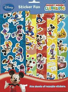 Mickey-Mouse-Clubhouse-Party-Supplies-Favours-Reusable-Sticker-Fun-Set-5-Sheets