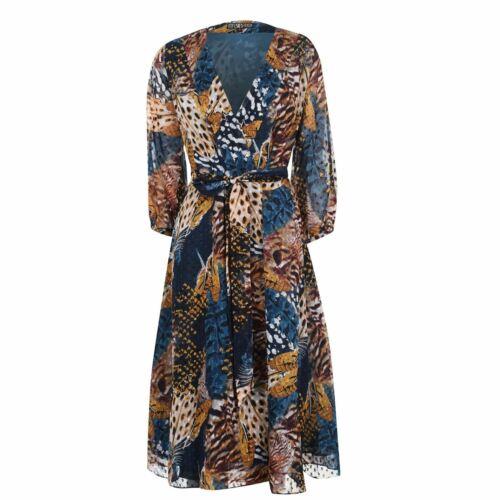 Biba Femme Midi robe manches longues col V imprimé all over lien à nouer
