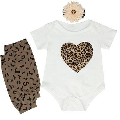 3PCS Newborn Infant Baby Girls Outfits Clothes Romper Bodysuit+Leg Warmers Sets