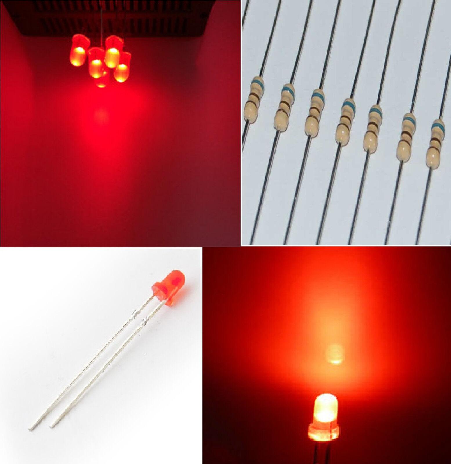 1.000 diodi led 3 mm rosso foggy LUCE DIFFUSA alta luminosità + 1000 RESISTENZE