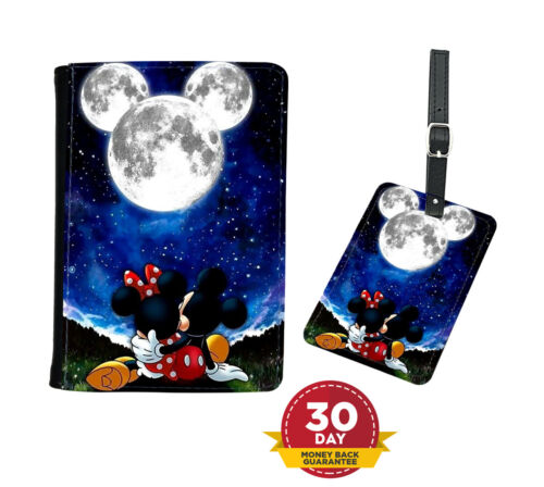 Passport Holder Faux Leather Cover OR Luggage Tag Disney Mickey Mouse Sky