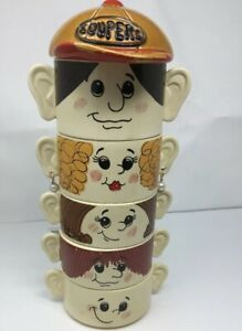 Vintage-Set-Family-of-Face-Soup-Cereal-Bowls-034-Soupers-034-Made-in-Japan-Stackable