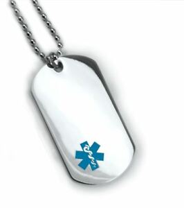 Medical Alert Id Dog Tag Blue Emblem Free 6 Lines Engraved Wallet
