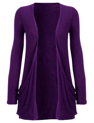Womens Long Sleeves Drop Pocket Boyfriend Cardigan Ladies Open Casual Top 10-20