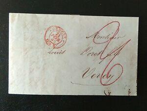 Vorphilatelie FB, 24.Feb 1849 nach Vevey, Roter Rund O, Roeteltaxe, schoen !