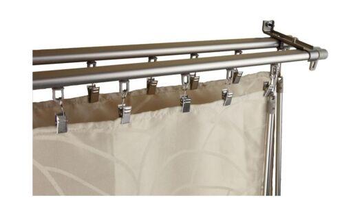 Varilla de doble vía Cortina Drapery Hardware Conjunto de Pista De Plata Ajustable de 66-120