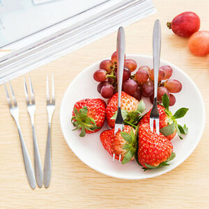 10st ACCIAIO INOX PICCOLI frutta FORCHETTA DESSERT cucinare insalata FORCHETTE STOVIGLIE POSATE parti