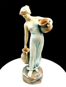 "BERNARD BLOCH THEODORE SCHOOP DESIGN ART NOUVEAU WATER GIRL 13 3/4"" FIGURINE"