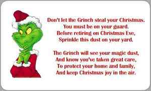 Grinch Dust Poem Labels Stickers Christmas Novelty Fun