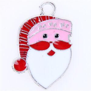 10Pcs-Enamel-Silver-Plated-Christmas-Santa-Claus-Charms-Xmas-Pendants-31-22mm