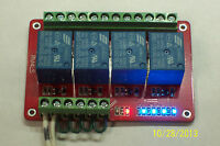 12vdc10 Amp 4-channel Low Level Input Relay Board W/blue Status Leds Usa