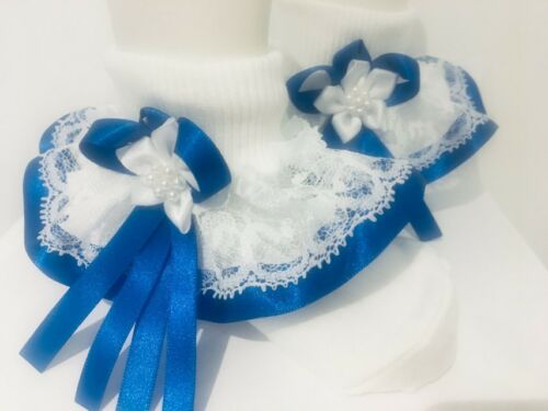 Handmade Royal blue trim frilly socks baby//girls wedding school various sizes