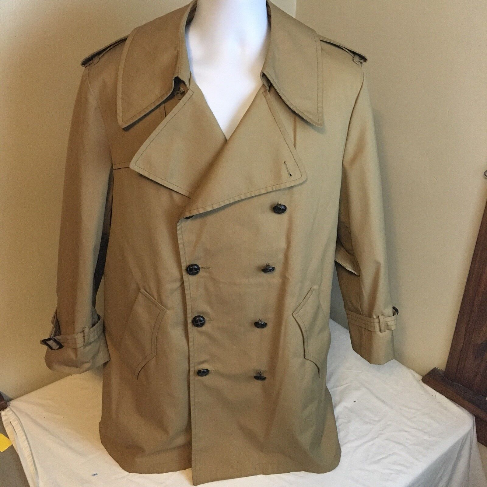 Clipper Mist All Weather Coat Double Vested Trench Beige Removeable Liner 40 S