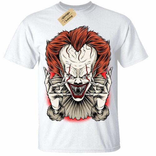 Kinder Jungen Mädchen Böser Clown T-Shirt It Horror Halloween Dunkel Scary Spuk