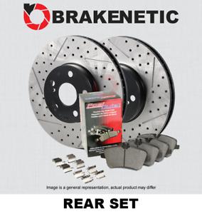 w//BREMBO BPK85920 REAR PREMIUM Drill Slot Brake Rotors+POSI QUIET CERAMIC Pads