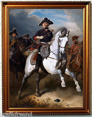 Friedrich der Große. Großer Kunstdruck n. Camphausen, fertig eingerahmt.