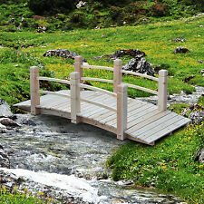 Outsunny 5' Solid Wood Arch Bridge Natural Finish Decorative Walkway Path W/Rail