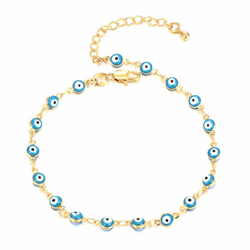 Turkish Enamel Blue Evil Eye Chain Lucky Bracelet protection Yellow Glod Filled