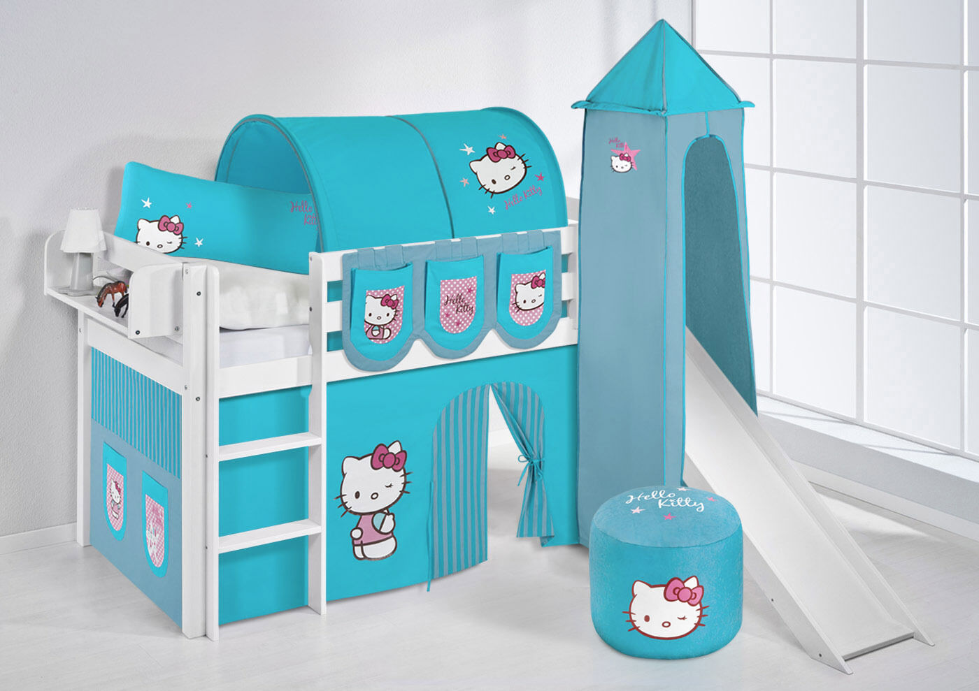 Lit Mezzanine de Lit Jelle Blanc avec Tour + Toboggan Enfants Lilo Hello Kitty