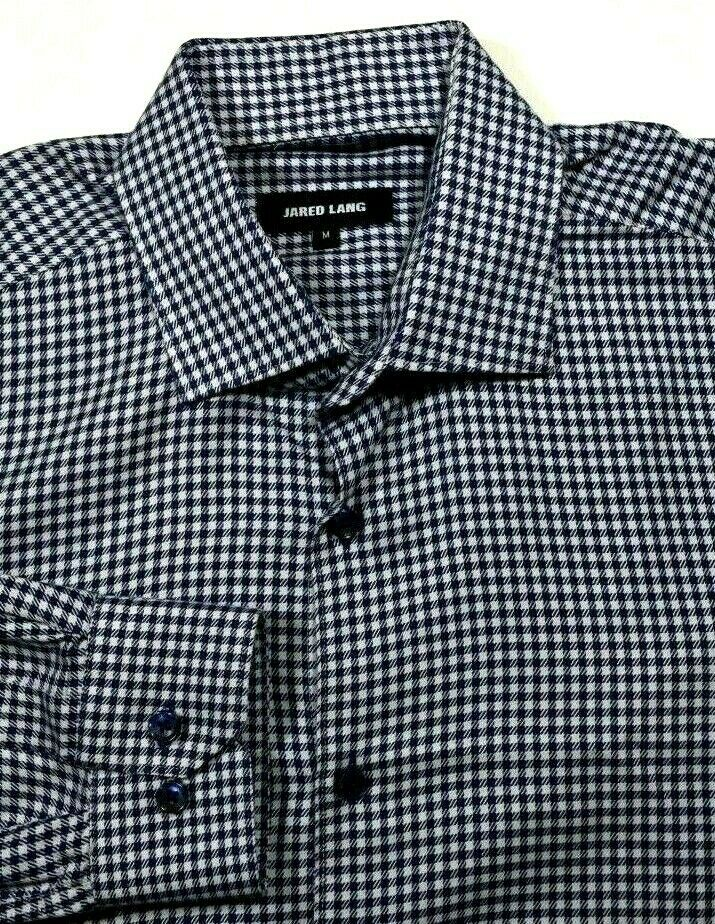 JARED LANG MENS blueE WHITE HOUNDSTOOTH GINGHAM COTTON CASUAL SHIRT MEDIUM