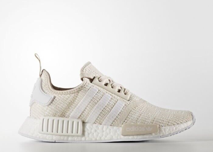 Women's Adidas NMD R1 Roller Knit Cream Brown Grey Tan Beige White Brown Cream CG2999 Sz 11 1e4079