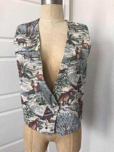 vintage orvis womens tapestry winterscape vest siz