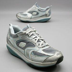 SKECHERS Shape Ups Womens Size 8.5 White Gray Fitness Toning Walking Sneakers