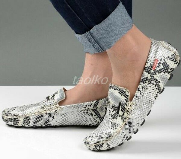 Scarpe casual da uomo  uomos Driving Moccasins Slip On Casual Loafers Snakeskin Printed Flats Shoes Sz