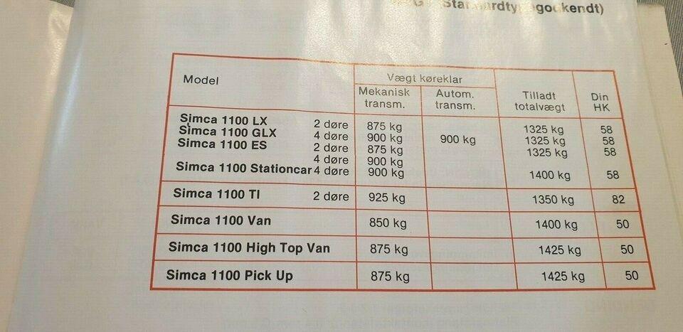 Instruktionsbog, Simca 1100