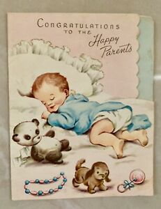 Vintage-Greeting-Card-Baby-Congratulations-From-1950-s-Preowned