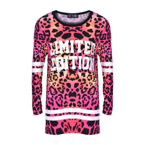 Girls Tops Kids Limited Edition Print Multi Leopard Top /& Legging Set 7-13 Years