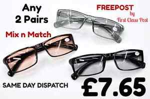 TN68  2 PAIRS Mix N Match Tinted Bifocal Multi Usage Eyeglasses amp Sun Readers - Hartley Wintney, United Kingdom - Returns accepted Most purchases from business sellers are protected by the Consumer Contract Regulations 2013 which give you the right to cancel the purchase within 14 days after the day you receive the item. Find out mor - Hartley Wintney, United Kingdom