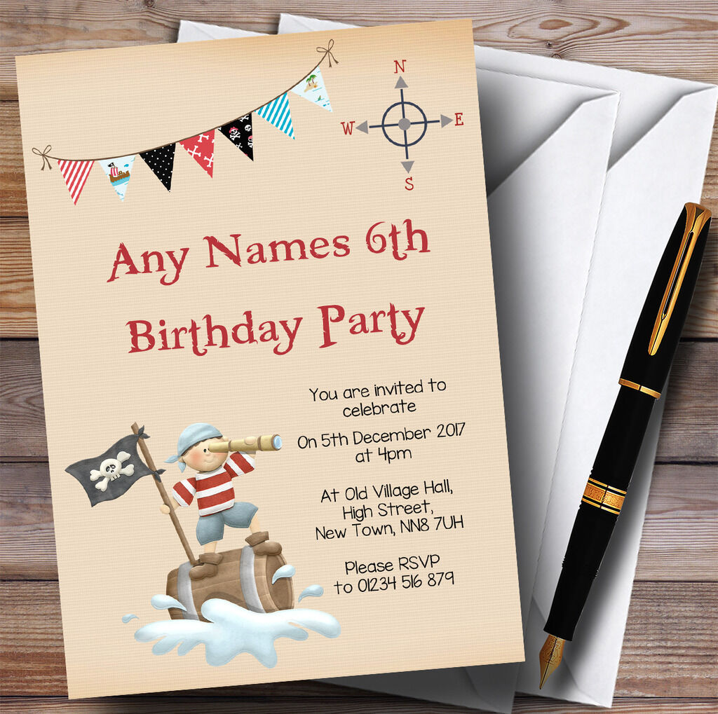 Joyeuses fêtes et et fêtes bonnes affaires! Vigie Pirate Childrens Birthday Party Invitations 686704