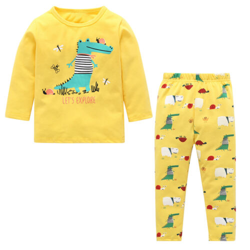 Kids Boys Dinosaur Sleepwear Cartoon Funny Pajamas Set Children Winter Nightwear