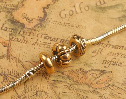 12Pcs//36pcs Antiqued SILVER Color Metal Rubber Stopper Beads fits 3mm Bracelet