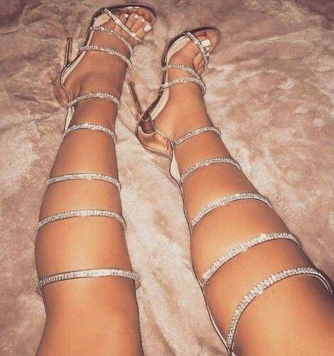Women Gladiator Sandals Rhinestone Open Toe Stiletto High Heel Party Pumps Shoes