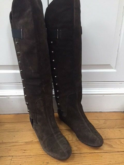 Tapeet by VINCINI Brown Suede Boots Knee High NWOT Size 38 MSP 429