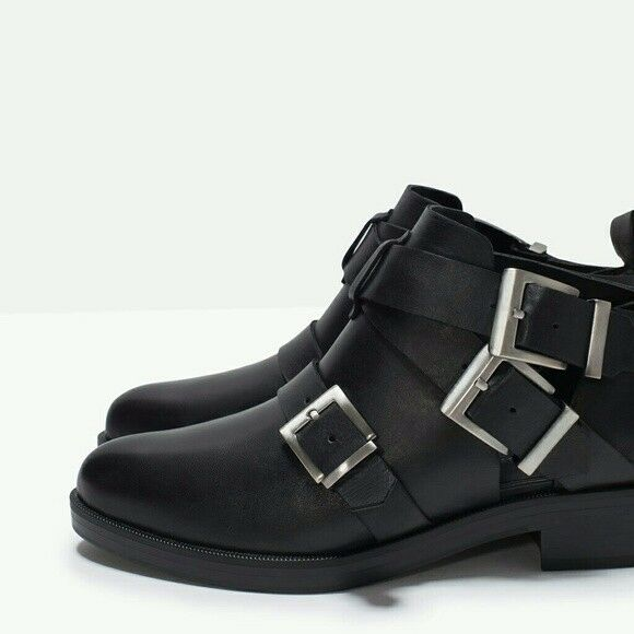 ZARA Black Leather Ankle Boots with Buckles 6.5 37 Booties Silver Cut out