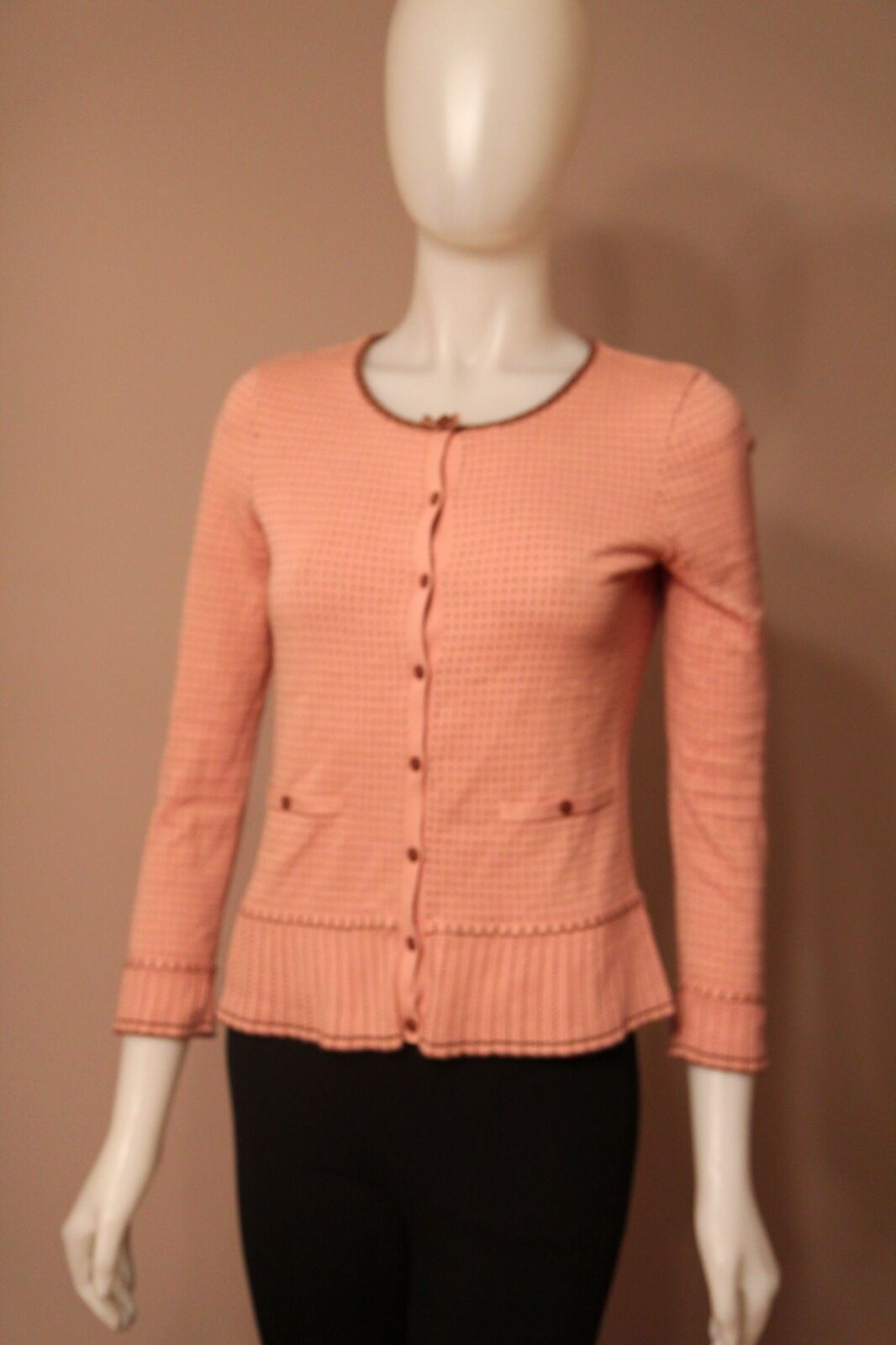 Marc Jacobs Pink Polka Dot Cardigan Sweater Small S