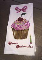Anthropologie Joyeux Anniversaire Cup Cake Dish Towel Anniversary Gift