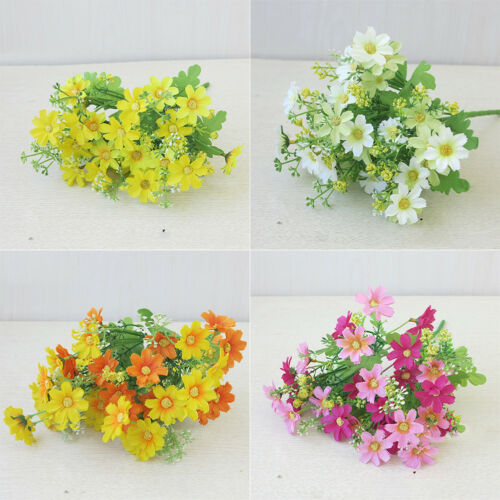 Artificial Fake Silk Chrysanthemum Daisy Plant Bush Bunch Vase Home Garden Decor