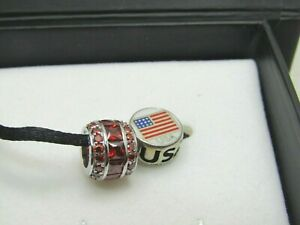 Kay-Sterling-Silver-Red-Rhinestone-amp-USA-Bead-Pendant-Charms-Charmed-Memories