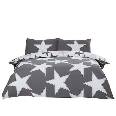 Sonderabschnitt Beunruhigt Sterne Grau Baumwollgemisch Wende King Size 4-tlg Bettwäsche Set Verbraucher Zuerst Bettwaren, -wäsche & Matratzen Bettwäschegarnituren