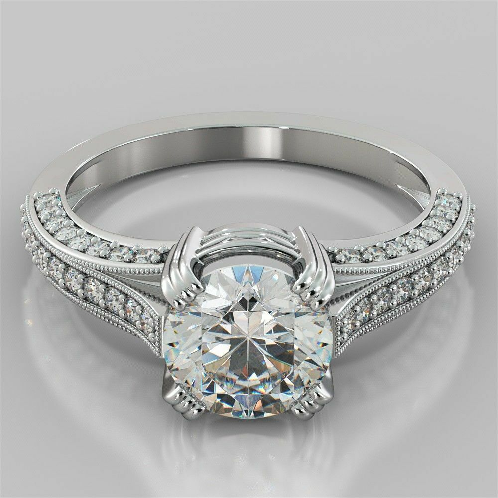 1.30 Ct Round Cut Diamond Engagement Ring 14K Solid White gold Rings Size 7 8 5