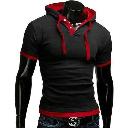 Popular Design Men's Casual Hoodie T-Shirts New Slim Fit Short Sleeve Tee Shirts