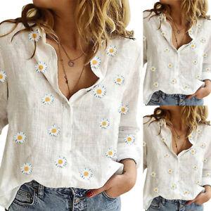 Women-Casual-Shirt-Collar-Long-Sleeve-Daisy-T-Shirt-Blouse-Lady-Tops-Loose-Tee